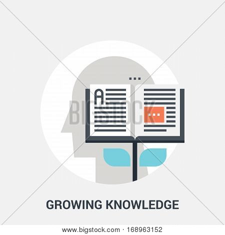 Abstract vector illustration of growing knowledge icon concept