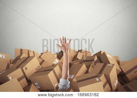 Man buried by a large stack of brown cardboard boxes sealed with adhesive tape. 3D Rendering.