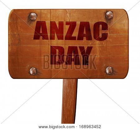 anzac day, 3D rendering, text on wooden sign