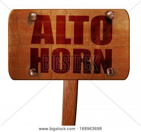 alto horn, 3D rendering, text on wooden sign