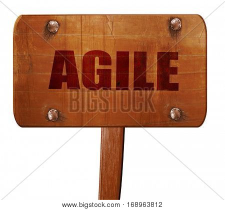 agile, 3D rendering, text on wooden sign