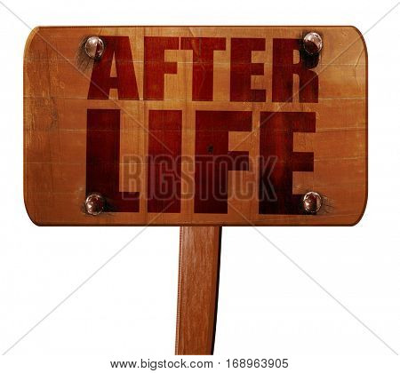 afterlife, 3D rendering, text on wooden sign