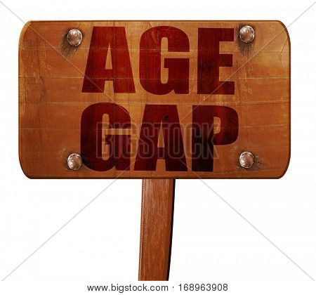 age gap, 3D rendering, text on wooden sign