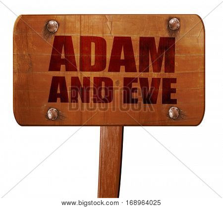 adam and eve, 3D rendering, text on wooden sign