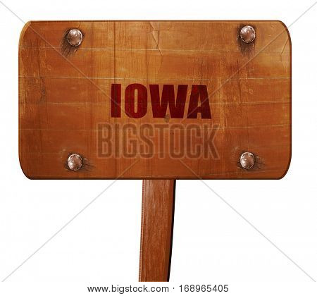 iowa, 3D rendering, text on wooden sign