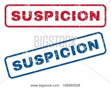 Suspicion text rubber seal stamp watermarks. Vector style is blue and red ink caption inside rounded rectangular banner. Grunge design and dirty texture. Blue and red signs.