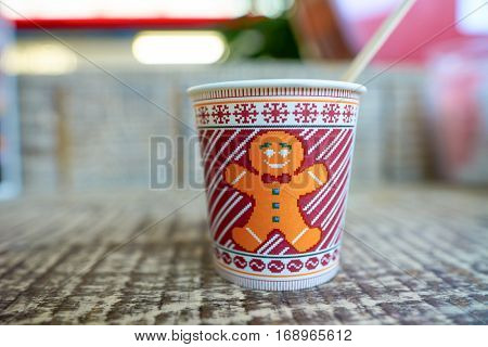 DUBAI, UAE - CIRCA NOVEMBER, 2016: close up shot of a Costa Coffee cup with espresso at Dubai international Airport.