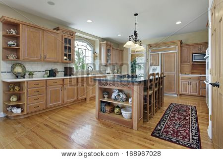 Kitchen in suburban home with large center island