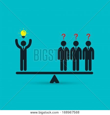 Businessman with idea on scales business concept. Vector illustration on blue background.