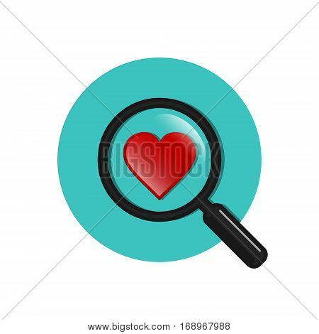 Search heart and love circle icon vector. Magnifying glass with heart inside. Dating illustration.