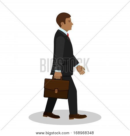 Walking businessman with briefcase side view vector isolated illustration.