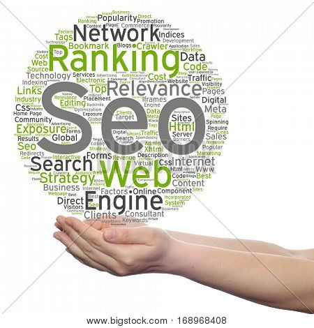 Concept or conceptual search engine optimization, seo abstract word cloud in hand isolated on background metaphor to marketing, web, internet, strategy, online, rank, result,  network, top, relevance