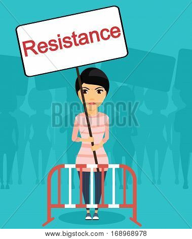 A young girl stands outside the fence with a poster in his hands. Street protest. The wave of protests. The manifestation of discontent with the current situation