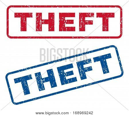 Theft text rubber seal stamp watermarks. Vector style is blue and red ink tag inside rounded rectangular banner. Grunge design and dust texture. Blue and red signs.