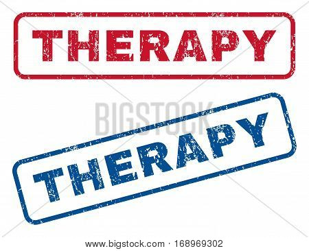 Therapy text rubber seal stamp watermarks. Vector style is blue and red ink caption inside rounded rectangular shape. Grunge design and dust texture. Blue and red signs.