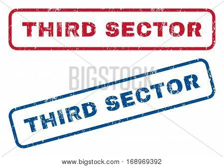 Third Sector text rubber seal stamp watermarks. Vector style is blue and red ink caption inside rounded rectangular shape. Grunge design and unclean texture. Blue and red signs.