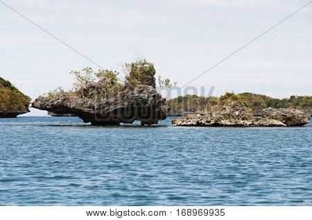 Cute Rock formations protruding above sea level