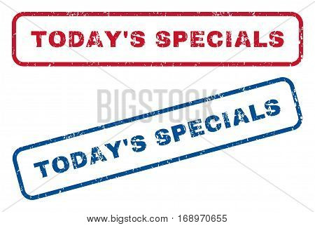 Today'S Specials text rubber seal stamp watermarks. Vector style is blue and red ink tag inside rounded rectangular shape. Grunge design and dust texture. Blue and red emblems.