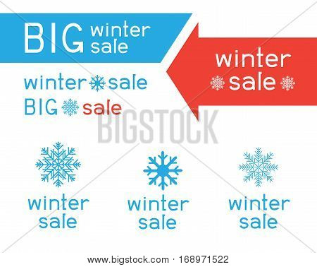 Winter sale logo set collection. Blue snow big snowflake sign symbol red and blue lettering. Arrows indicate the direction of sales