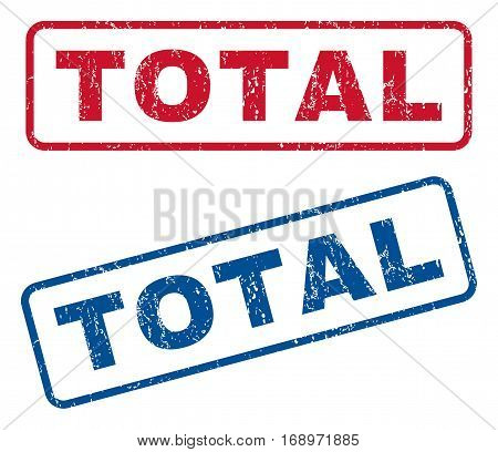 Total text rubber seal stamp watermarks. Vector style is blue and red ink caption inside rounded rectangular banner. Grunge design and dirty texture. Blue and red signs.