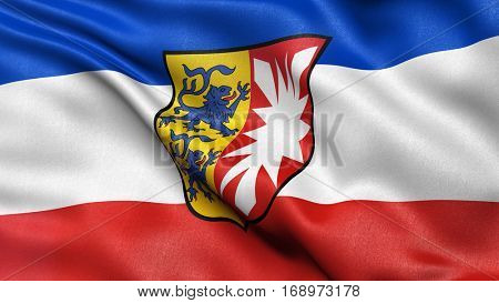 Flag of Schleswig Holstein waving in the wind. 3D illustration with high quality fabric texture.