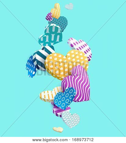 Multicolored 3d hearts. Abstract vector illustration.