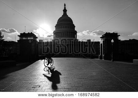 Silhouette of US Capitol Building - Washington DC USA