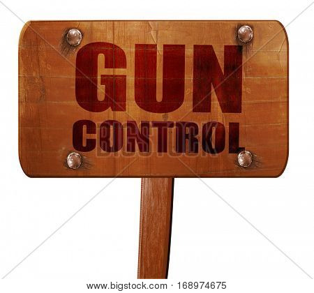 gun control, 3D rendering, text on wooden sign