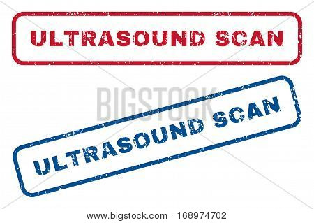 Ultrasound Scan text rubber seal stamp watermarks. Vector style is blue and red ink tag inside rounded rectangular banner. Grunge design and unclean texture. Blue and red emblems.