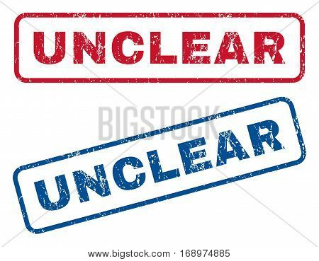 Unclear text rubber seal stamp watermarks. Vector style is blue and red ink tag inside rounded rectangular banner. Grunge design and unclean texture. Blue and red stickers.