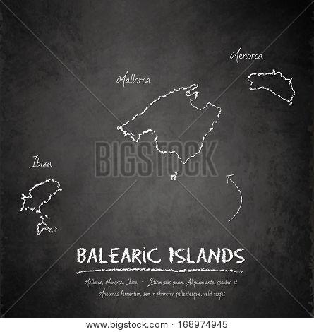 Balearic Islands, Mallorca, Menorca, Ibiza map blackboard chalkboard vector