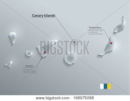 Canary Islands map flag glass card paper 3D vector