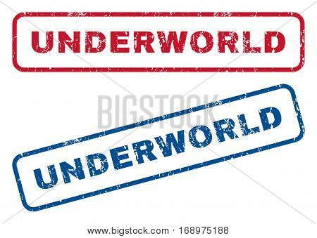 Underworld text rubber seal stamp watermarks. Vector style is blue and red ink caption inside rounded rectangular shape. Grunge design and scratched texture. Blue and red stickers.