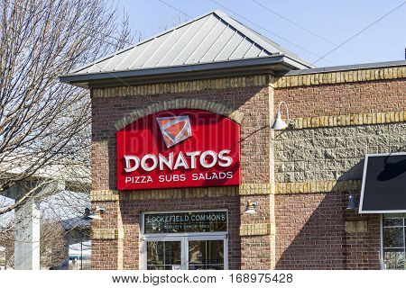 Indianapolis - Circa February 2017: Donatos Pizza Delivery and Eat In Restaurant. Donatos is known for its thin crust pizza II