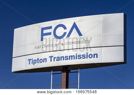 Indianapolis - Circa February 2017: FCA Fiat Chrysler Automobiles Transmission Plant. FCA sells vehicles under the Chrysler Dodge and Jeep brands V