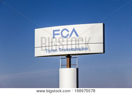 Indianapolis - Circa February 2017: FCA Fiat Chrysler Automobiles Transmission Plant. FCA sells vehicles under the Chrysler Dodge and Jeep brands IV