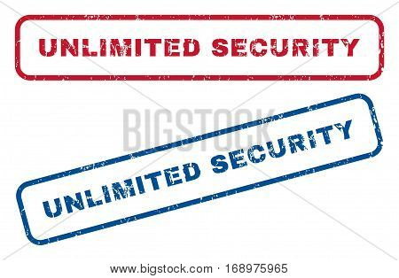 Unlimited Security text rubber seal stamp watermarks. Vector style is blue and red ink tag inside rounded rectangular banner. Grunge design and scratched texture. Blue and red emblems.