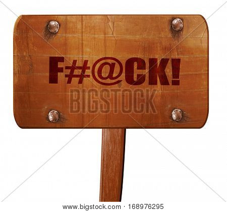 f, 3D rendering, text on wooden sign