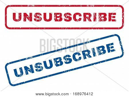Unsubscribe text rubber seal stamp watermarks. Vector style is blue and red ink tag inside rounded rectangular banner. Grunge design and dust texture. Blue and red emblems.