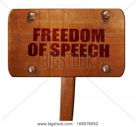 freedom of speech, 3D rendering, text on wooden sign