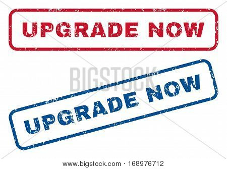 Upgrade Now text rubber seal stamp watermarks. Vector style is blue and red ink tag inside rounded rectangular banner. Grunge design and scratched texture. Blue and red signs.