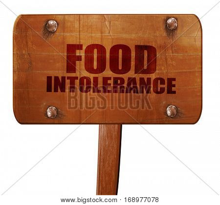 food intolerance, 3D rendering, text on wooden sign
