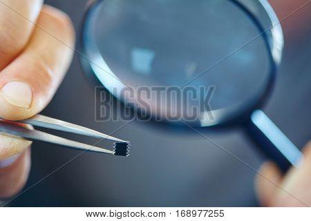 microchip with tweezers