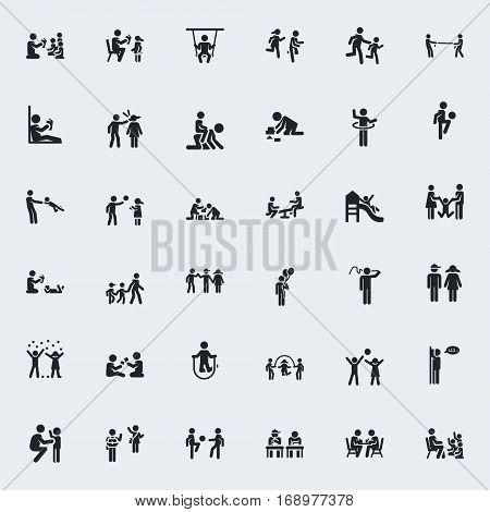 Stick Figure. Kindergarten. Vector pictograms.  Monochrome illustration