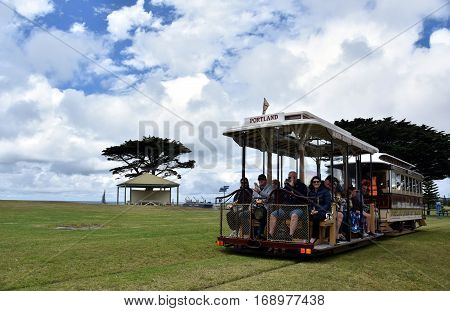 Portland, Australia - Jan 1, 2017. Portland Cable Tram at Portland Vested Land. Along Portland's spectacular foreshore, the Portland Cable Tram is a must-do for any visitor to town.