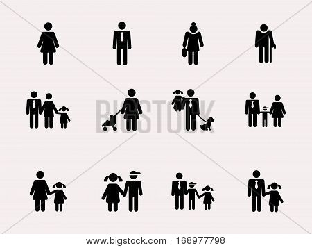 Stick figure. Family. Vector Monochrome illustration pictogramms
