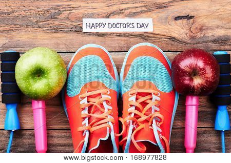 Apples, gumshoes and jump rope. Best regards on Doctor's Day.