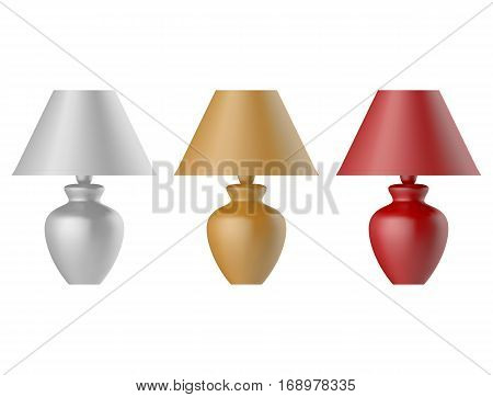Table lamp set isolated on white background