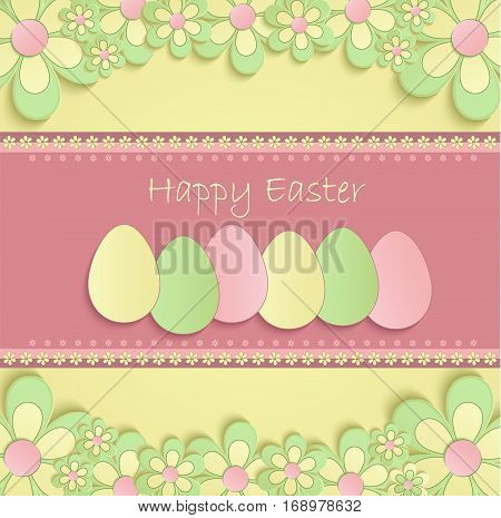 Happy easter flowers eeg spring 3D yellow pink vector