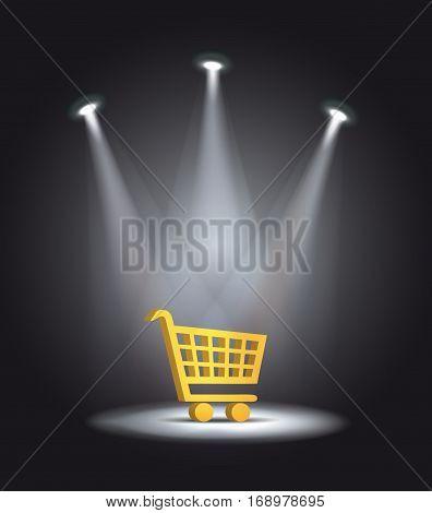 reflector light shopping cart vector dark template